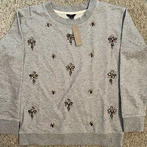 Jewelled Grey JCrew Sweatshirt